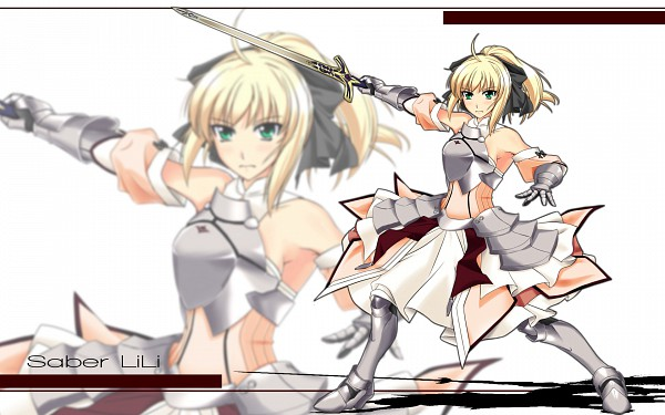 Tags: Anime, Merufena, Fate/unlimited codes, Saber Lily, Saber (Fate/stay night), Caliburn, Wallpaper