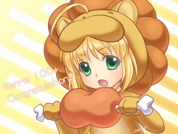 Tags: Anime, Pixiv Id 1103327, Fate/tiger colosseum, Saber Lion, Saber (Fate/stay night), Meat, Lion Costume, Pixiv, Wallpaper, Fanart From Pixiv, Fanart