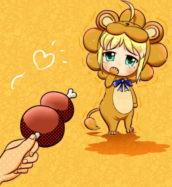 Tags: Anime, Pixiv Id 2394537, TYPE-MOON, Fate/tiger colosseum, Saber Lion, Saber (Fate/stay night), Lion Costume, Meat, Pixiv, Fanart