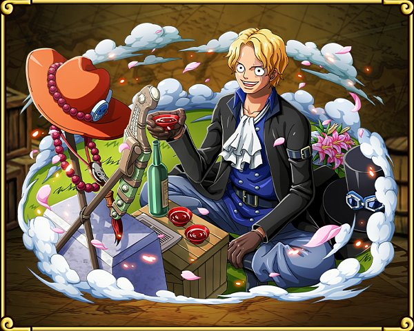 Tags: Anime, ONE PIECE, ONE PIECE: Treasure Cruise, Sabo, Sakazuki, Grave, Goggles On Hat, Official Art, One Piece: Two Years Later, Wallpaper