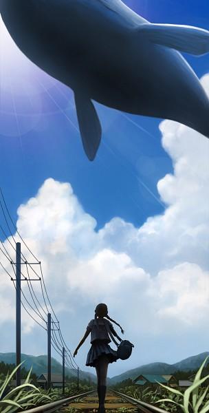 Tags: Anime, Sachi (Pixiv211853), Aquatic Animal in the Sky, Whale, Power Lines, Pixiv, Original
