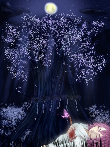 Tags: Anime, Pixiv Id 1079927, Touhou, Saigyouji Yuyuko (Living), Saigyouji Yuyuko, Saigyou Ayakashi, Suicide, Shimenawa, Fanart, Fanart From Pixiv, Pixiv
