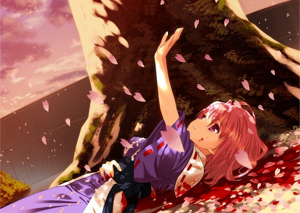Tags: Anime, Yasuyuki, Himorogi, Touhou, Saigyouji Yuyuko, Saigyouji Yuyuko (Living), Dying