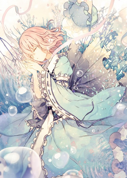 Tags: Anime, 6U☆, Touhou, Saigyouji Yuyuko, Fanart From Pixiv, Fanart, Pixiv, Mobile Wallpaper, Yuyuko Saigyouji