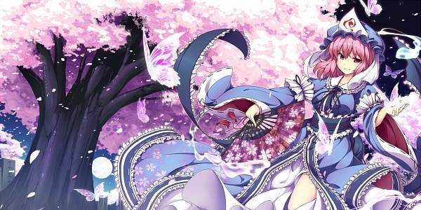 Tags: Anime, UGUME, Touhou, Saigyouji Yuyuko, 2:1 Ratio, Fanart, PNG Conversion, Yuyuko Saigyouji