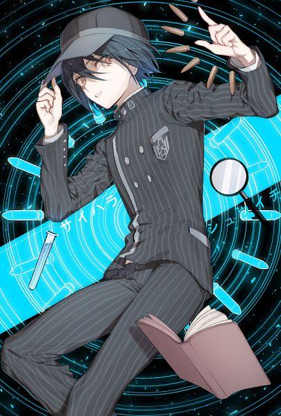 Tags: Anime, Pixiv Id 2312918, New Danganronpa V3, Saihara Shuuichi, Striped Outerwear, Striped Pants, Striped Jacket, Magnifying Glass, Test Tube, Fanart From Pixiv, Pixiv, Fanart