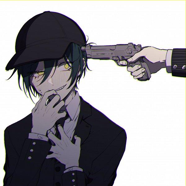 Tags: Anime, Pixiv Id 2734062, New Danganronpa V3, Saihara Shuuichi, Suicide, 2048x2048 Wallpaper, Aiming At Own Head, Pixiv, Fanart, Fanart From Pixiv