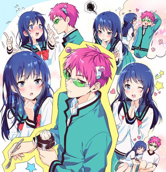 Tags: Anime, mery (dpqpqp550), Saiki Kusuo no Sainan, Saiki Kusuo, Teruhashi Kokomi, Thinking, Pudding, Holding Spoon, Blank Stare, Biting Finger, Twitter, Fanart