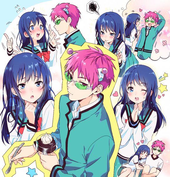 Tags: Anime, mery (dpqpqp550), Saiki Kusuo no Sainan, Saiki Kusuo, Teruhashi Kokomi, Hugging Arm, Pixiv, Fanart, Fanart From Pixiv