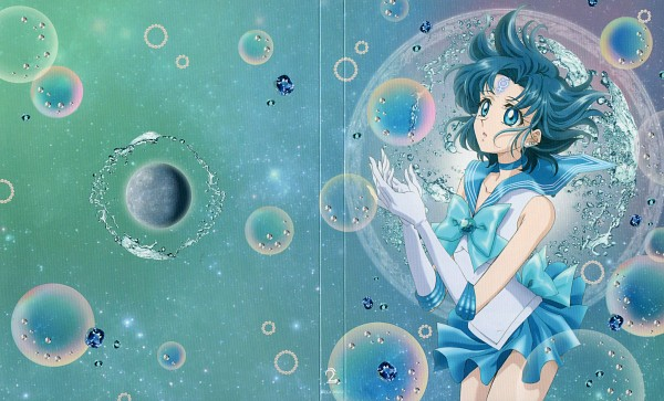 Tags: Anime, Sakou Yukie, Toei Animation, Bishoujo Senshi Sailor Moon, Mizuno Ami, Sailor Mercury, Mercury Symbol, Planet Mercury, DVD (Source), Official Art, Wallpaper, Scan