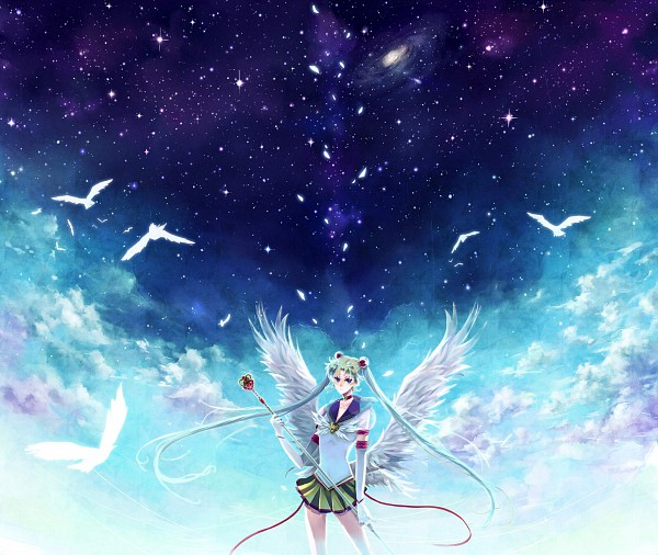 Tags: Anime, Nako (Nonrain), Bishoujo Senshi Sailor Moon, Sailor Moon (Character), Tsukino Usagi, Eternal Moon Article, Eternal Tiare, Scepter, Galaxy, Pixiv, Fanart, Fanart From Pixiv
