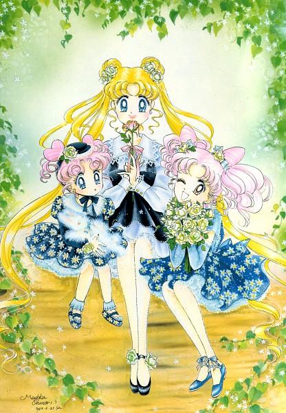 Tags: Anime, Kumiko Kinjo, Bishoujo Senshi Sailor Moon, Tsukino Usagi, Chibi Chibi, Chibiusa, Mobile Wallpaper