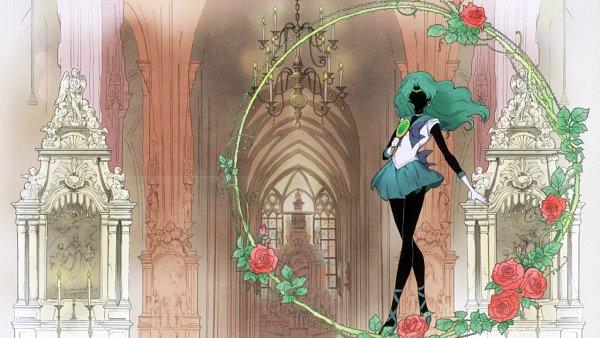 Tags: Anime, Bishoujo Senshi Sailor Moon, Sailor Neptune, Kaiou Michiru, Hand Mirror, Deep Aqua Mirror, Screenshot, Wallpaper, Eyecatcher