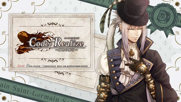 Tags: Anime, miko (Artist), IDEA FACTORY, Code: Realize ~Sousei no Himegimi~, Saint Germain, Steampunk, Hat Feather, Official Wallpaper, HD Wallpaper, Wallpaper, Facebook Cover, Official Art