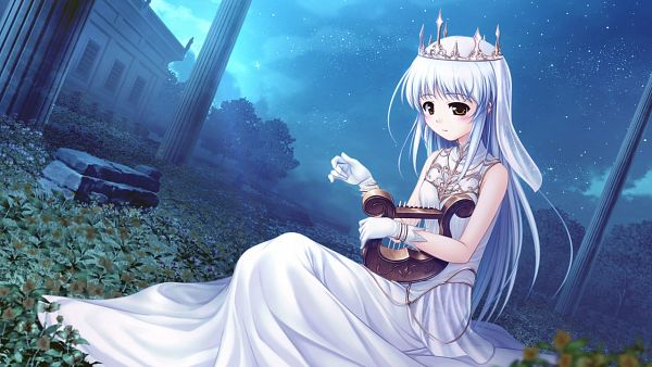 Tags: Anime, Bekkankou, August (Studio), Aiyoku no Eustia, Saint Irene, Sitting On Grass, Harp, CG Art, Facebook Cover, Wallpaper