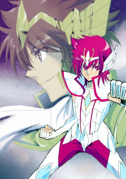 Tags: Anime, Toei Animation, Saint Seiya Omega, Sagittarius Seiya, Pegasus Seiya, Pegasus Kouga, Mobile Wallpaper