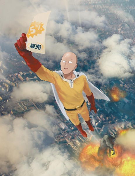 Tags: Anime, Pixiv Id 12392789, One Punch Man, Saitama (One Punch Man), Holding Paper, Explosion, Fanart, Fanart From Pixiv, Pixiv