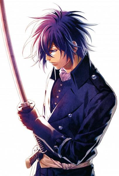 Tags: Anime, Kazuki Yone, Hakuouki Shinsengumi Kitan, Saitou Hajime (Hakuouki), Official Character Information, Scan, Official Art, Mobile Wallpaper