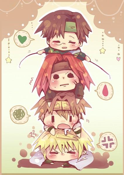 Tags: Anime, Pixiv Id 161693, Saiyuki, Son Goku (Saiyuki), Cho Hakkai, Sha Gojyo, Genjyo Sanzo, Pulling, Pulling Hair, Emote, Mobile Wallpaper
