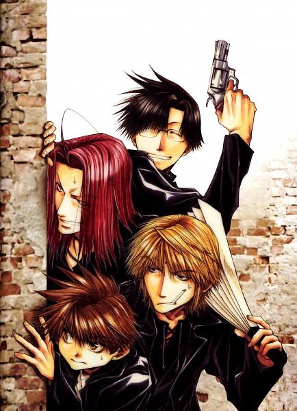 Tags: Anime, Minekura Kazuya, Saiyuki, Cho Hakkai, Sha Gojyo, Genjyo Sanzo, Son Goku (Saiyuki), Cheuveux Rouges, Mobile Wallpaper