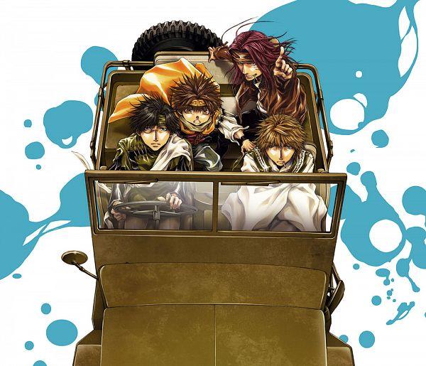 Tags: Anime, Minekura Kazuya, Saiyuki, Cho Hakkai, Hakuryûu (Saiyuki), Sha Gojyo, Genjyo Sanzo, Son Goku (Saiyuki), Driving, Official Art