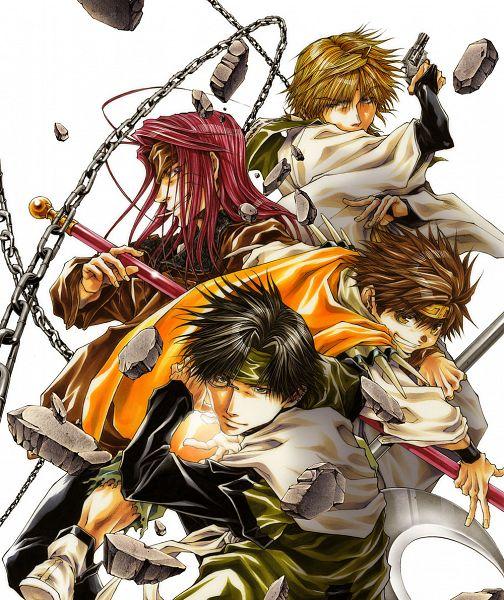 Tags: Anime, Kazuya Minekura, Saiyuki, Sha Gojyo, Genjyo Sanzo, Son Goku (Saiyuki), Cho Hakkai, Official Art