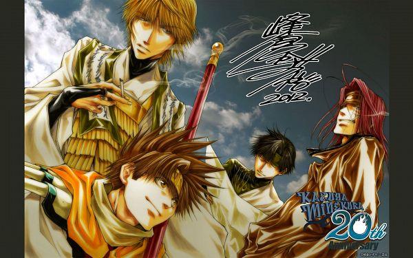 Tags: Anime, Kazuya Minekura, Saiyuki, Son Goku (Saiyuki), Cho Hakkai, Sha Gojyo, Genjyo Sanzo, Official Art, Official Wallpaper, Wallpaper