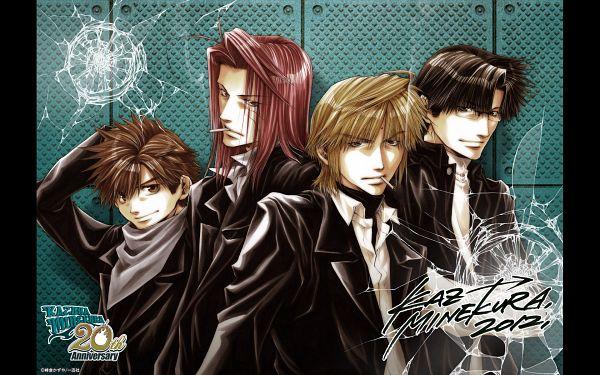 Tags: Anime, Kazuya Minekura, Saiyuki, Cho Hakkai, Sha Gojyo, Genjyo Sanzo, Son Goku (Saiyuki), Official Art, Official Wallpaper, Wallpaper