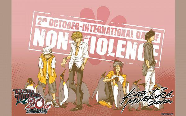 Tags: Anime, Kazuya Minekura, Saiyuki, Son Goku (Saiyuki), Cho Hakkai, Sha Gojyo, Genjyo Sanzo, Wallpaper, Official Art, Official Wallpaper