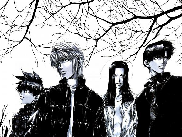 Tags: Anime, Minekura Kazuya, Saiyuki, Sha Gojyo, Genjyo Sanzo, Son Goku (Saiyuki), Cho Hakkai, Wallpaper