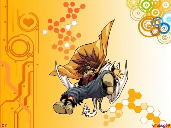 Tags: Anime, Saiyuki, Son Goku (Saiyuki), Mini Dragon, Wallpaper