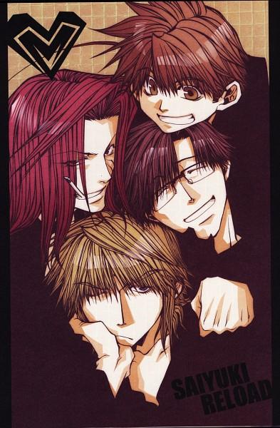 Tags: Anime, Kazuya Minekura, Saiyuki, Cho Hakkai, Sha Gojyo, Genjyo Sanzo, Son Goku (Saiyuki), Mobile Wallpaper, Scan, Official Art