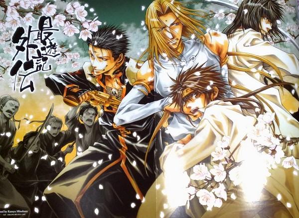 Tags: Anime, Kazuya Minekura, Saiyuki Gaiden, Saiyuki, Kenren Taishou, Son Goku (Saiyuki), Konzen Douji, Tenpou Gensui, Poster (Source), Livejournal, Scan