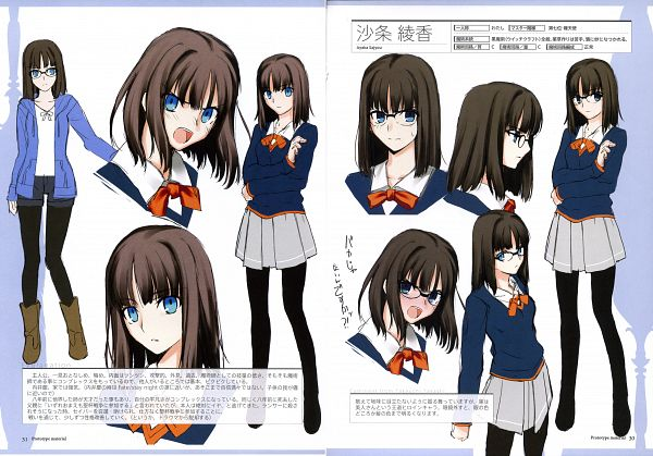 Tags: Anime, Takeuchi Takashi, TYPE-MOON, Fate/Prototype, Prototype Material, Sajyou Ayaka, Official Art, Scan, Character Sheet, Sketch