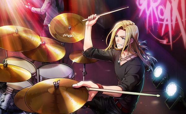 Tags: Anime, Argonavis from BanG Dream!, Argonavis from BanG Dream! AASide, Sakaigawa Miyuki, Drumsticks, Playing Drums, V-neck, Spotlight, Official Card Illustration, Official Art