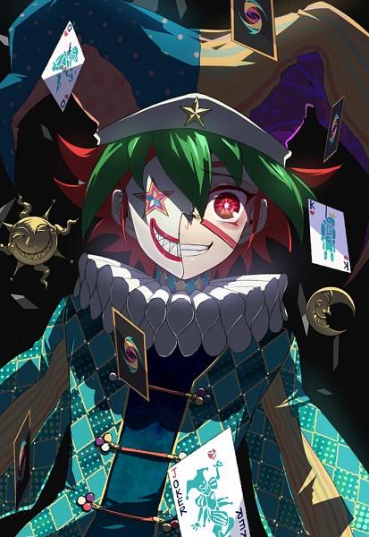 Tags: Anime, Liusang, Yu-Gi-Oh!, Yu-Gi-Oh! ARC-V, Sakaki Yuya, Ruff Collar, Half Mask, Creepy Smile, Clown, Jester Hat, Fanart, Pixiv, Mobile Wallpaper
