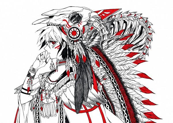 Tags: Anime, Pixiv Id 1379588, Yu-Gi-Oh! ARC-V, Yu-Gi-Oh!, Sakaki Yuya, War Bonnet, Native American Clothes, Pixiv, Fanart From Pixiv, Fanart, PNG Conversion