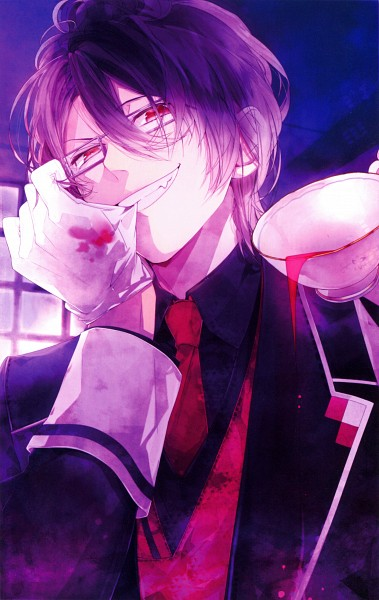 Tags: Anime, Satoi, IDEA FACTORY, Rejet, Diabolik Lovers Official Visual Fanbook, Diabolik Lovers ~Haunted dark bridal~, Sakamaki Reiji, Biting Gloves, Eyes Half Closed, Scan, Replacement Request, Official Art, Mobile Wallpaper