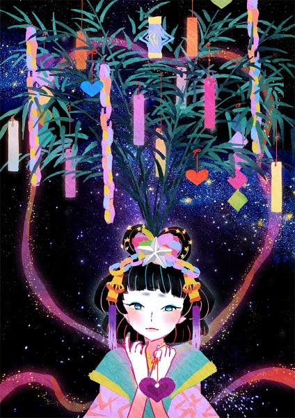 Tags: Anime, Sakamoto Himemi, Orihime (Goddess), Paper Lantern, Tanabata, Galaxy, Pixiv, Original