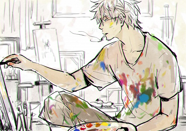 Tags: Anime, Feiqiuxuan, Gintama, Sakata Gintoki, Painting (Action), Wallpaper, Fanart From Pixiv, Fanart, Pixiv, Gintoki Sakata