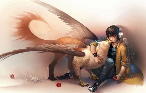 Tags: Anime, Sakimichan, Manticore (Mythology), Torn Pants, Hippogriff, Griffin, Hugging Animal, deviantART, Original