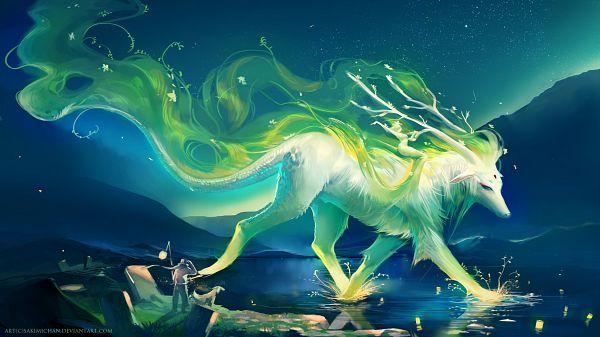 Tags: Anime, Sakimichan, Splash, Aurora Borealis, Lagoon, Moss, Graveyard, Facebook Cover, Revision, Original