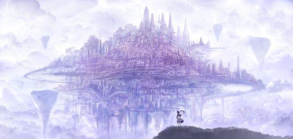 Tags: Anime, Sakimori, Floating Island, Facebook Cover, Original