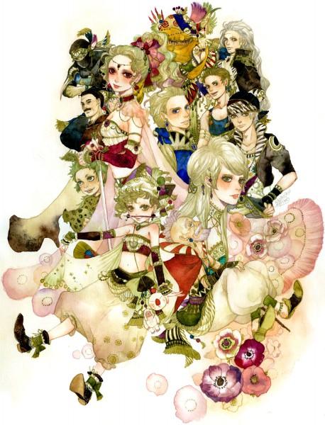 Tags: Anime, Sakizou, Final Fantasy IV, Final Fantasy VI, Setzer Gabbiani, Tina Branford, Gau (Final Fantasy VI), Mash Rene Figaro, Relm Arrowny, Locke Cole, Gogo, Edgar Roni Figaro, Stragus Magus