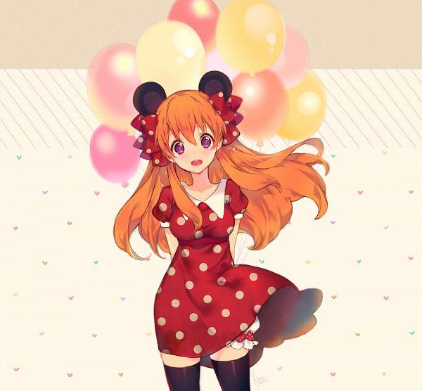 Tags: Anime, Bittersweet (Dalcoms), Gekkan Shoujo Nozaki-kun, Sakura Chiyo, Spotted Dress, Spotted Bow, Minnie Mouse (Cosplay), PNG Conversion, Pixiv, Fanart From Pixiv, Fanart
