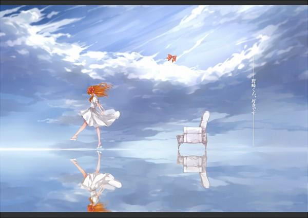 Tags: Anime, Pixiv Id 7248974, Gekkan Shoujo Nozaki-kun, Sakura Chiyo, Faceless, Spotted Bow, Walking On Water, Water Reflection, Pixiv, Fanart, Fanart From Pixiv