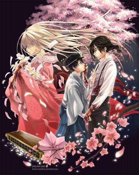 "Tags: Anime, juhaihai, Sakura Gari, Saiki Souma, Tagami Masataka, Katou (Sakura Gari), Saiki ""Youya"" Sakurako, Harmonica, deviantART, Fanart"