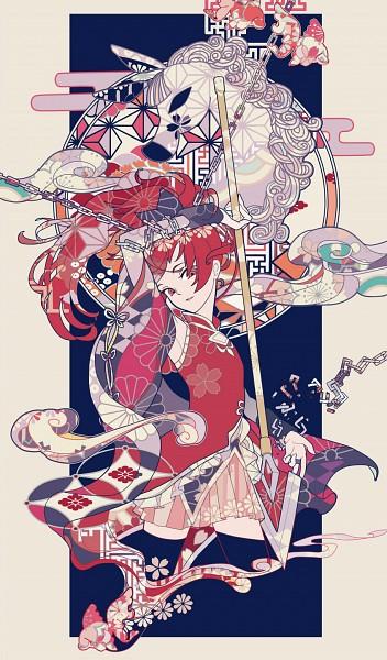 Tags: Anime, Bourbone, Mahou Shoujo Madoka☆Magica, Sakura Kyouko, Ophelia (Mahou Shoujo Madoka Magica), Sayagata, Kikumon, Asa no Ha (Pattern), Egasumi, Shippou (Pattern), Mobile Wallpaper, Pixiv, Fanart