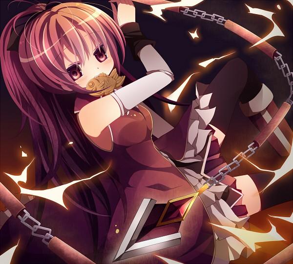Tags: Anime, Rairateru, Mahou Shoujo Madoka☆Magica, Sakura Kyouko, Nunchaku, Taiyaki