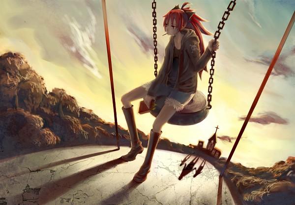 Tags: Anime, DIE (Pixiv 2783308), Mahou Shoujo Madoka☆Magica, Sakura Kyouko, Tires, Tire Swing, Swing, Playground, Fanart, Pixiv